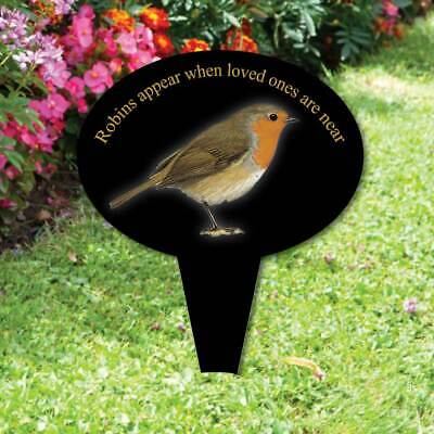 Memorial oval grave sign, Robins appear,In Loving Memory Garden Plaque on stake