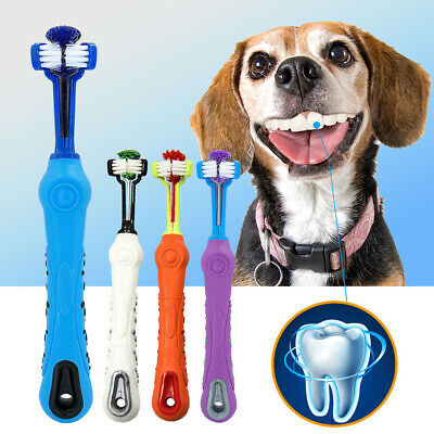3-Head Three Sided Pet Cleaning Brush Dog ToothBrush Teeth Care Dog Cat Cleaning
