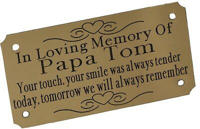 Solid Brass Memorial Bench Plaque Grave Sign Personalised Engraved Various Sizes