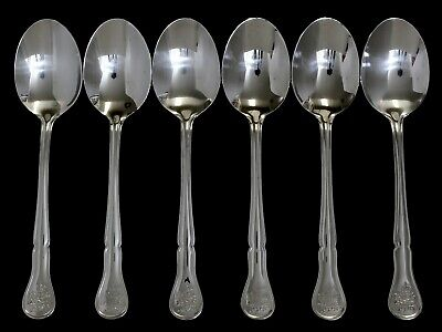 6 Pfaltzgraff Tea Rose Stainless Table/Soup Spoons -  NEVER USED! MINT!