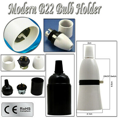 New Switched Lamp Holder Standard Bayonet B22 Cap Bc Fitting Light Bulb Uk Stock
