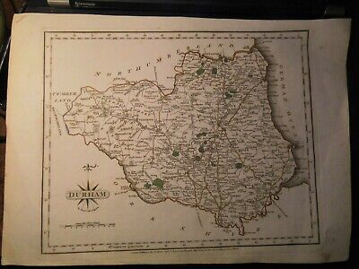Durham (County) 1787: Antique Map By John Cary-Copper Engraving And Hand Colour-