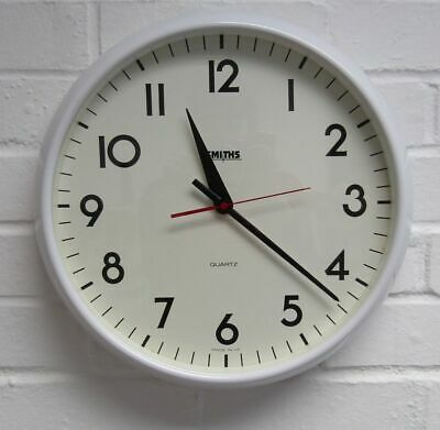 Retro Original 1970s Large White Faced Smiths Wall Clock, Battery Fully Working