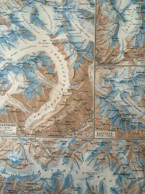 1896 Glaciers Original Antique Map Mounted & Matted Mountain