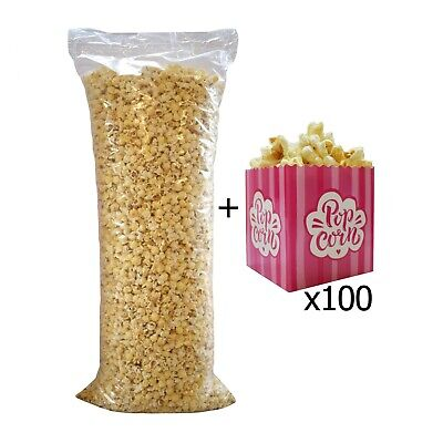 Ready Made Popcorn Bag 3kg + 100 Small Pink Popcorn Boxes