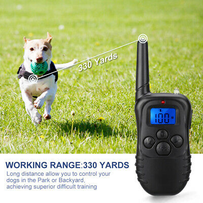 Dog Training Shock Collar +LCD Electric Remote 330 Yards Waterproof Rechargeable