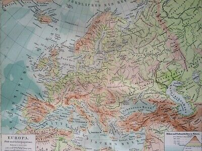 1896 Europe (Physical) Original Antique Map showing Mountain & River Systems