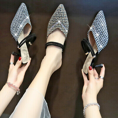 Womens Ladies Pointed Toe Mules Mid Heels Slingback Sandals Diamante Smart Shoes