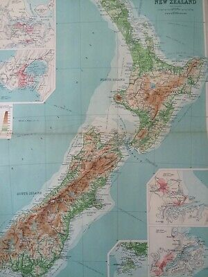 1922 New Zealand Large Original Antique Map Auckland Wellington Christchurch