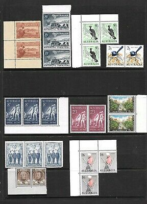 Australia Pre-Decimal Pairs/Strips  Selection x 9 Mint Never Hinged.