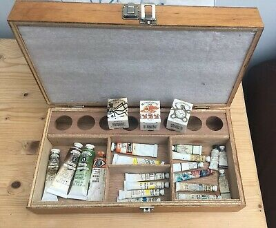 Artist Paint Box with Vintage & recent Winsor & Newton Oil & Water Colours, Ink