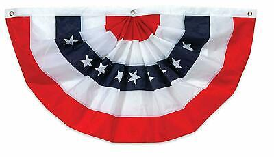 "American Flag Bunting 40x 20"" 100% Cotton Embroidered Red White Blue July 4TH"