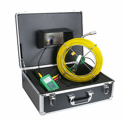 """30M Sewer Waterproof Camera Pipe Pipeline Drain Inspection System 7""""LCD DVR Top"""