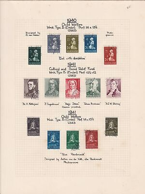netherlands 1940-41 welfare & relief fund used stamps sheet ref 17836