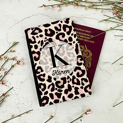 Personalised Customised Faux Leather Passport Holder Cover Cheetah Print