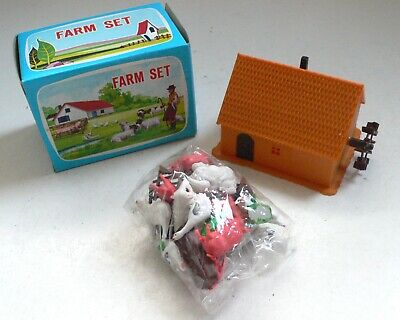 Early Hong Kong plastic Toy FARM MILL SET with Animals 1960's MIB