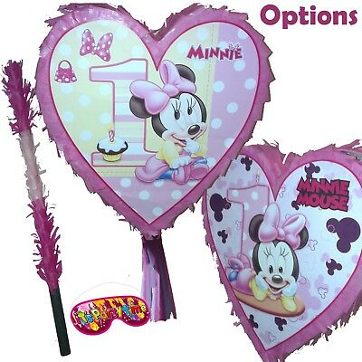 Minnie Heart 1st First Birthday Pinata set Girls Kids Smash Party Fun Mini Rella