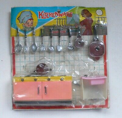 Early Hong Kong plastic Toy KITCHENWARE KITCHEN SET 1960's NMIP