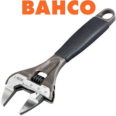 "BAHCO 8"" 200mm ADJUSTABLE WRENCH EXTRA WIDE THIN SLIM JAW BLACK PHOSPHATE 9031T"