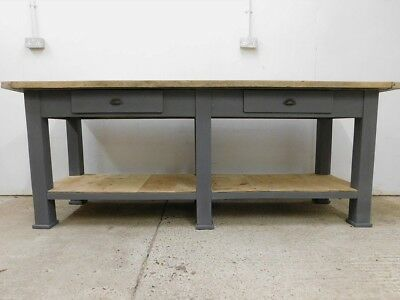 Large vintage rustic workbench, kitchen island industrial shop counter table