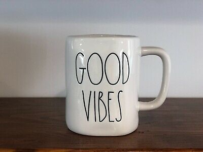 Rae Dunn Artisan Collection By Magenta GOOD VIBES Ivory Large Letter Mug
