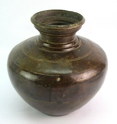 Indian Traditional kitchen Ware Brass Water Pot Heavy Big Size Lota. G56-124 US