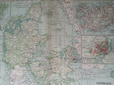 1903 Denmark & Iceland Original Antique Map Faroe Islands Copenhagen