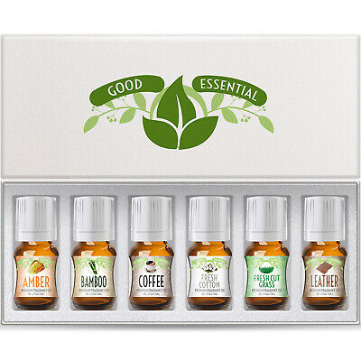 Amazing Scents Good Essential Fragrance Oil Set Amber, Coffee, Leather, Bamboo
