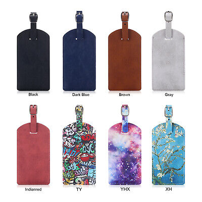 2 Pcs Luxury PU Leather Suitcase Bag Luggage Tags/ID/Label w/ Back Privacy Cover