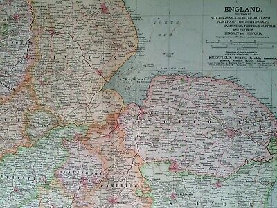 1903 East England Original Antique Map East Anglia Lincolnshire Norfolk Suffolk