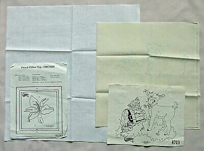 2 Vintage Cameo Fabric Painting Or Punch Needle Fabric Patterns - Pillows - New