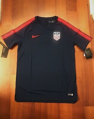 Activewear Careful Nike Womens Size Large Dri-fit Usa Red White Blue Soccer Jersey New Nwt $90