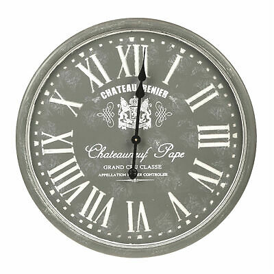Oversized Large Vintage Grey French Roman Numerals Shabby Chic Wall Clock 60cm
