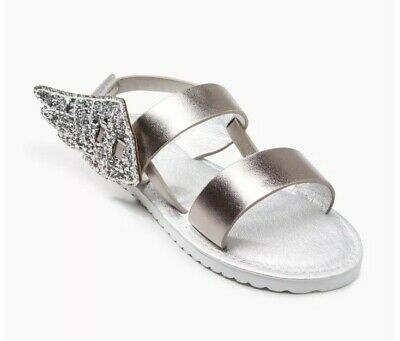 Next Girls Sandals Size 7 Infant Silver Glitter Wings BNWT