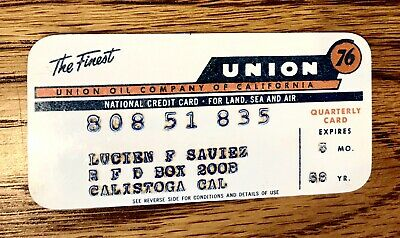 vintage credit card 1958 Union 76 gas card
