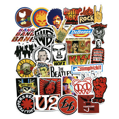 52Pcs Rock Band Stickers Musician Decals Car Luggage Laptop Phone Vinyls PC Cool