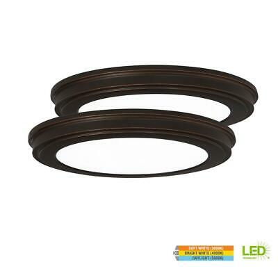 Commercial Electric 13in. 24W Oil Rubbed Bronze LED Ceiling Flush Mount 2-Pack