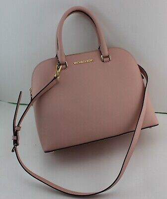 6fbed4286634a7 New Authentic Michael Kors Cindy Pink Handbag Lg Large Dome Satchel Women's