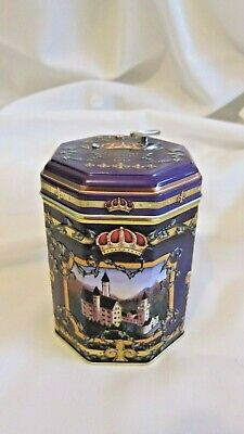 Collectable Purple Musical Biscuit Tin Container 2017 Empty