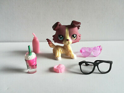 2'' Littlest Pet Shop LPS#1262 Light Red Collie dog  w/accessories Toy