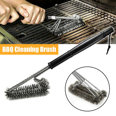"""BBQ Grill Cleaning Brush 18"""" Grilling Tool Cleaner Stainless Steel Woven Wire US"""