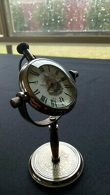 Brass Ships Pocket Watch, Clock On Stand Ship's Vintage Look