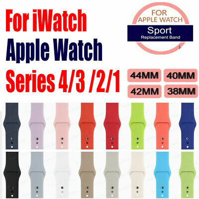 Silicone Sport Band Strap For Apple Watch Series 4 3 2 1 38mm/40mm/42mm/44mm