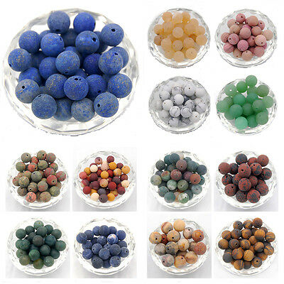 Natural Matte Frosted Gemstone Round Loose Charm Beads Wholesale Jewelry Making