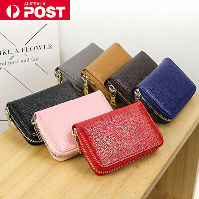 Mens Women Credit Card Holder Leather RFID Money Cash Wallet Blocking Purse