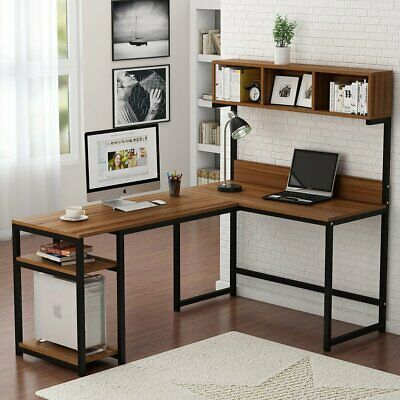 Wood Corner L-Shaped Computer Desk with Hutch PC Study Working Table Workstation
