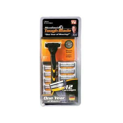 Micro Touch Tough Blade Triple-Blade Razor with 12 Refill Cartridges , NEW