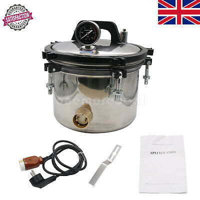 8L Steam Sterilizer High Pressure Autoclave Dental Equipment Dual Heating Pot UK