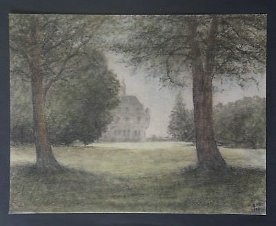 "Drawing Pastel 1954 "" Park and Castle "" - Signed E.M"