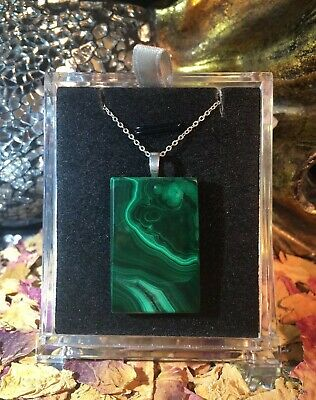Gorgeous natural Malachite 22x34mm octagon cabochon sterling silver pendant 🐉